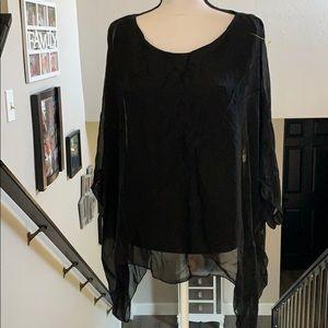 New 40% silk loose asymmetrical black blouse